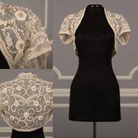 Wholesale Bead Shrug - Real Image Bridal Jackets Lace Short sleeves Beads Bridal Coat Wedding Capes Wraps Cheap Bolero Jacket Wedding Dress Wraps Shrugs