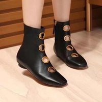 Wholesale Brass Applique - new~u804 40 black genuine leathermotorcycle flat short boots brass circle vogue