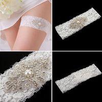 Wholesale Wholesale Custom Garters - Free Shipping Wedding Bridal Garter Custom Made Plus Size White Bridal Garter Sexy Lace Garter Crystal Bridal Garters Hot Fashion