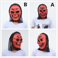 Red Skull Mask Skeleton Halloween Mask Black Glauze Full Face Ghost Costume Scary Devil Costume Red color free shipping