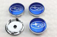 Wholesale Cover Subaru Forester - 4pcs lot BLUE STAR 60mm wheel center caps hub cover chrome car badges ABS for Subaru Forester Legacy Impreza XV STI