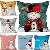 Wholesale Wholesale Plush Snowman Ornaments - Snowman Christmas Pillowcase Festival Decoration Ornament Home Decor Square Cushion Cover Pillow Case Plush Decorative Sofa Car Gift