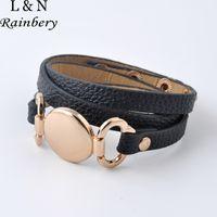 Wholesale Disk Bracelet - Wholesale-Hottest Sale Trendy With Blank Disk Multiple Wrap Leather Bracelet 2016 New Style Monogram Leather Cuff Bracelet