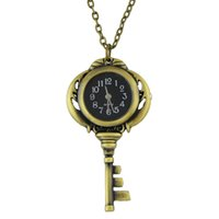 Wholesale Vintage Jewelry Watches - Unique Fashion Vintage Jewelry Wholsale Black Antique Gold Color Key Pocket Watch & Pendant Necklace With Chain