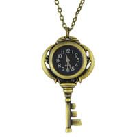 Wholesale Unique Gold Pendants - Unique Fashion Vintage Jewelry Wholsale Black Antique Gold Color Key Pocket Watch & Pendant Necklace With Chain