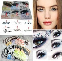 Wholesale Sticker Makeup Eyeshadow - Fashion Eye Rock Eyeshadow Rhinestone Crystal Tattoos Stickers Eyelid Makeup Decoration Tools DIY Art 3D EYE TATTOOS