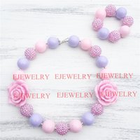 Wholesale Silver Chunky Beads - 20mm pink purple acrylic beads pink flower&rhinestone beads chunky Bubblegum kids necklace&bracelet set CB810