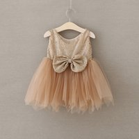 Wholesale Coffee Brown Dress - Girls Sequins princess dress summer children gold sequins bows tulle tutu dress sweet girls coffee party Dress kids Pageant Dresses A9760