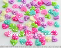 Wholesale Bow Flatbacks - 250pcs Resin kawaii mixed Heart nail art polka dots miniature Bows Deco cabochons Flatbacks 11mm-sz0132