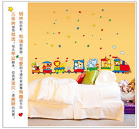 Wholesale Wall Decor Stickers Kids Train - 100pcs Cartoon zoo animals giraffe train art Kids room decor baby bedroom decor home decoration ZY9065 AY9065 home decal wall stickers art