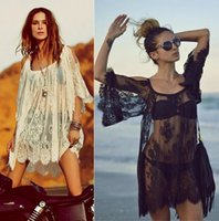 Wholesale Spagetti Tops - Sexy Beach Lace Women Plus Size Tops Long Sleeve See Through Casual Crochet Spagetti Strap Beach Cover Up Beachwear Bathing Suit Cover