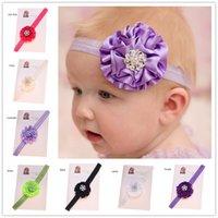 ingrosso capelli rosati di raso-24PCS Baby Headbands Fiori Satin Esater Accessori per capelli Neonato Battesimo Regalo Fasce per fiori in rosetta