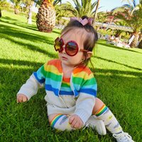 Wholesale Baby Sleeveless Jacket - Everweekend Baby Girls Knitted Rainbow Stripes Rompers and Jackets 2pcs Sets Autumn Winter Sweet Toddler Kids Clothing
