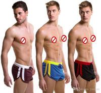bolsa de cinto jock venda por atacado-Hot Sexy Shorts Casuais dos homens Casuais Shorts Esportivos Casa com G-corda Jocks Correias Dentro Da Mala Troncos de Ginásio Malha Quick-Seco Boxers M L XL 7063