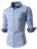 projeto novo do vestido dos homens venda por atacado-Atacado- camisa dos homens 2016 nova marca Design SpringSummer Mens xadrez camisa Casual Slim Fit elegante camisas de vestido para homens xadrez XXXXL