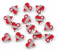 Wholesale glass lockets jewelry making for sale - Group buy Red Sister Heart Floating Locket Charms Fit For Magnetic Glass Memory Locket Fashion Jewelry Making