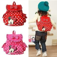 Wholesale Cute Baby Bags Pink - Hot sale Cute Small Minnie Micky Mouse Little Baby Children Girls Backpacks Cartoon School Bag for Kids mochila infantil 81202