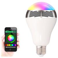 bluetooth kontrollü ışıklar toptan satış-Kablosuz 6W Güç Bluetooth LED Hoparlör ışık Akıllı Ampul Akıllı Telefonlar için cep telefonu kontrollü Ampul AC85-265 ile 4.0 Akıllı lamba RGB Aydınlatma