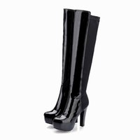Wholesale Thick Heel Cheap - Free shipping ladies patent PU stretch fabric thick platform high heel round toe pure color zipper ladies fashion cheap long boots 215-6-1