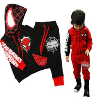Wholesale Hooded Spiderman - Cartoon Children Batman Clothes Sets Boys Spiderman Hoodies + Pants 2pcs Kids Tracksuits Boys Sport Suit Toddler Boys Halloween Clothing