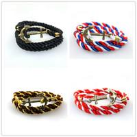 ingrosso nylon anchor bracelet-Anchor Bracciale Donna Uomo Multistrato Navy Handmade Polsino Wristband Nylon Corda Infinity Anchor Bracelet Bangle Gift 30 Colori misti all'ingrosso