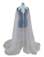 Wholesale White Organza Wedding Capes - Cheap Organza Applique Bridal Wraps Jackets with High Neck 2018 White Bridal Wraps Sheer Newest Long Wedding Capes Bolero For Wedding Dress