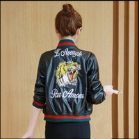 Wholesale Leather Clothes Shorts - Wholesale- 2016 Autumn And Winter Custom Baseball Clothing PU Leather Embroidery Tiger Head Short Paragraph Leather Jacket