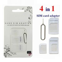 Wholesale Dual Sim Cards Adapter - Nano SIM Card Adapter 4 in 1 micro sim adapter dual triple with Eject needle pin Key Retail Package universal for cell phones
