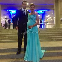 Wholesale Mint Chiffon Maternity Dress - Mint Green Long Evening Dress One Shoulder A Line Soft Chiffon Pregnant Women Evening Dresses 2017 High Wasit Floor Length Cheap Women Gown
