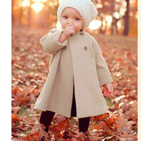 Wholesale Double Breasted Jackets For Kids - New Fashion Girls Outwear Double-Breasted Woolen Kids Jacket O-Neck Girls Coats and Jackets Winter Coat For Girl Manteau Fille