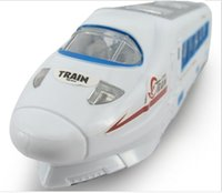 Wholesale Electric Rail Train - 1pc Universal Music Flash Electric Car Plastic Simulation Harmony High Speed Rail Train Model 4 LED +Music Battery Operated with Reatil pack
