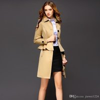 Wholesale Tighter Waist Ruffles - 2016 Autumn New Design Trench Coats Women Blouse Slim Tight Outfit With Belt Single Breasted Long Sleeve Ruffle Trench