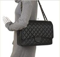 çift çanta toptan satış-Büyük Classial 33 CM Maxi Hakiki Havyar Deri Kapitone Çift Flap Moda Omuz Zincir Çanta Çanta Donanım açık çanta