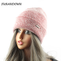 Wholesale Sports Beanies Hats - Furandown Rabbit Fur Knitted Hat Cap Women Winter Warm Wool Beanie Hat Outdoor Sport Skullies Beanies Gorro
