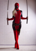 Wholesale deadpool costume online - New lady deadpool cosplay costume adult women accessories spandex mask movie costumes deadpool spandex suit girl womens