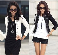 Wholesale Cheap Womens Jackets Coats - Wholesale- Black and White color Fashion Spring autumn 2016 Female Coats Womens Short Jackets With Rivet for Lady's coats Cheap jaket 521