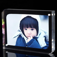 Wholesale Plexiglass Can - 5 inches 127x89mm acrylic plexiglass magnet photo frame european creative Have many different size inventory and can customize any size