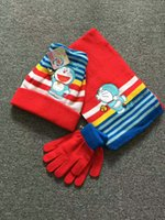 Wholesale Wholesale Winter Hats Gloves Scarfs - children winter knitted caps crochet gloves scarf finger mittens cotton warm hats for children boys girls cartoon doraemon accessories