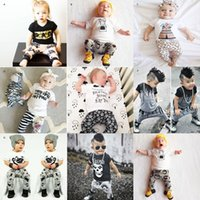 Wholesale Baby Boys Clothes Skulls - 1st Birthday Outfits For Baby Boy Girl Set Clothing Christmas Halloween Infant Newborn Skull T Shirt Top+Trouser 2PC Suit Toddler Tracksuit