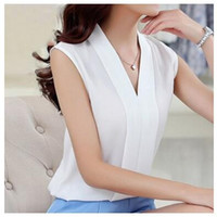 Wholesale V Neck Low Cut - 2017 Women V-neck summer blouses low cut sleeveless shirts Blusas Femininas European casual tops solid tee