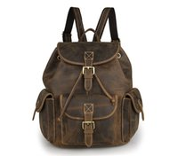 Wholesale Genuine Crazy Horse Leather Vintage Laptop Bag For Mens Backpack Travel Bag