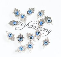 Wholesale Hand Fatima Charms - 50 Pieces New Fashion Jewelry Accessories Ancient Silver Kabbalah Fatima Hamsa Hand eye Charms Pendant 18x12mm