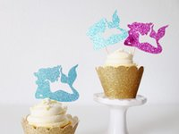 Wholesale Wedding Cupcake Mixed - cheap Christmas mixed Glitter Mermaid under the sea cupcake toppers birthday wedding engagement bridal baby shower Bachelor party foodpicks