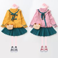 Wholesale Knitted Tutu Tops - Everweekend Kids Girls 2pcs Ruffles Crochet Knitted Top Fashion Bow Blouse and Sweet Tutu Skirt 2pcs Outfits Sets
