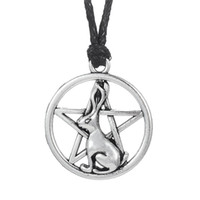 Wholesale Necklaces Bunny Rabbit - My Shape Religious Jewelry Series Antique Silver Bunny Rabbit Pentagram Pendant Necklaces for Man and Woman