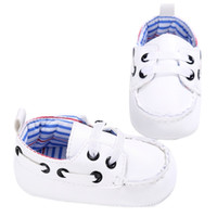 Wholesale toddler white canvas shoes wholesale - Wholesale- Fashion Baby Boys Girls PU First Walker Toddlers Kids Lace-up Shoes White Blue Black 2017