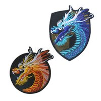 Wholesale Wholesale Embroidered Jeans - 50PCS Chinese Dragon Embroidery Patches Tactical Morale Patch Emblem Embroidered Badges for Jackets Jeans Backpack Cap Wholesale