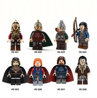 Wholesale Toy Lord Rings - Building Blocks Minifigures Action Bricks The Lord of the Rings Hobbits Rohan Bard Kids Christmas Gift DIY Toys 8pcs set PG8031