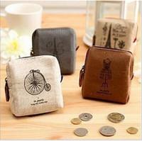 Wholesale Japan Keychain Cartoon - 10pcs MINI Coin Wallet Purse Change Pocket Keychain Keys Vintage Canvas Bag Holder Organize Cosmetic Makeup Sorter 9*9.5*2.5CM Free Shipping