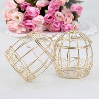 Wholesale European Wedding Favor Boxes - Wedding Favor Box European creative Gold Metal Boxes romantic wrought iron birdcage wedding candy box tin box wholesale wa3913